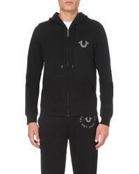 True Religion | Black Branded Cotton-jersey Hoody for Men | Lyst