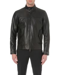 Canali - Black Leather Blouson Jacket for Men - Lyst