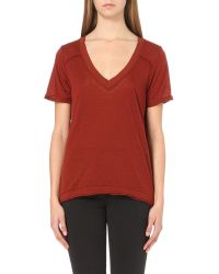Free People - Brown Scoop V-neck Jersey T-shirt - Lyst