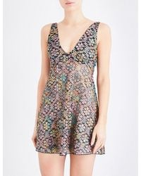 Free People | Black Forget Me Not Floral-mesh Slip | Lyst