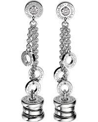 BVLGARI | Metallic B.zero1 Mini 18kt White-gold Pendant Earrings | Lyst