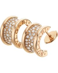 BVLGARI - B.zero1 18ct Pink-gold And Diamond Earrings - Lyst