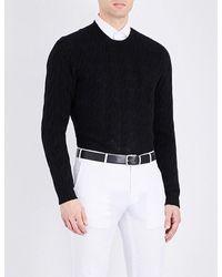 Ralph Lauren Purple Label | Black Cable-knit Cashmere Jumper for Men | Lyst