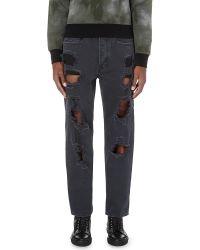 DIESEL - Gray P-cheyenne-destroy Regular-fit Straight Jeans for Men - Lyst
