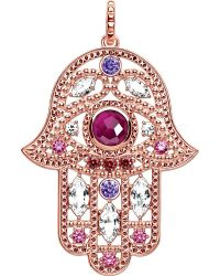 Thomas Sabo - Pink Hand Of Fatima 18ct Rose Gold-plated And Zirconia Pendant - Lyst