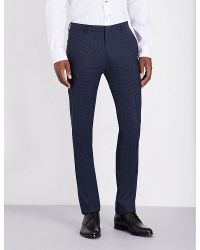Paul Smith | Blue Checked Slim-fit Wool Trousers for Men | Lyst
