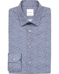 Paul Smith | Blue Slim-fit Floral-print Cotton Shirt for Men | Lyst