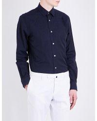 Paul Smith - Blue Floral-jacquard Slim-fit Cotton Shirt for Men - Lyst