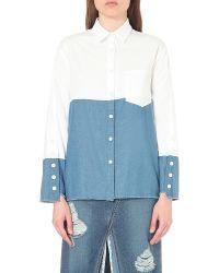 Steve J & Yoni P - Blue Raw-edge Cotton And Denim Shirt - Lyst