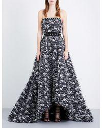 Prabal Gurung | Black Strapless Embellished Fil-coupé Gown | Lyst