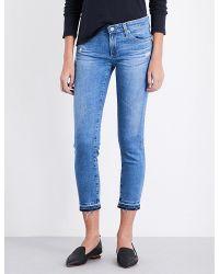 AG Jeans | Blue The Stilt Released-hem Cropped Mid-rise Jeans | Lyst