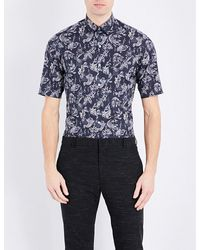Lanvin | Blue Fish-print Slim-fit Cotton Shirt for Men | Lyst
