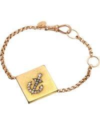 Annina Vogel   Metallic 9ct Rose-gold Rose-cut Diamond Anchor Guard Bracelet   Lyst