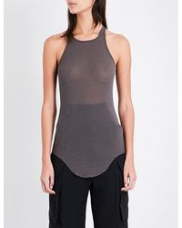 Rick Owens - Gray Ribbed Silk-blend Vest - Lyst