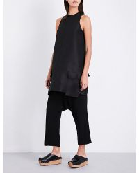 Rick Owens | Black Cropped Crepe Trousers | Lyst