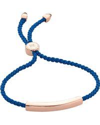 Monica Vinader - Blue Linear 18ct Rose Gold-plated Friendship Bracelet - Lyst
