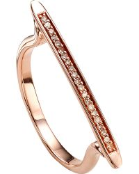 Monica Vinader | Metallic Skinny 18ct Rose Gold-plated Vermeil And Diamond Ring | Lyst