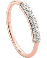 Monica Vinader | Metallic Stellar 18ct Rose Gold-plated Vermeil And White Diamond Ring | Lyst