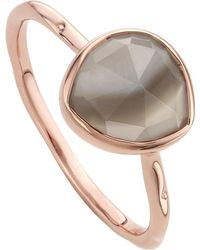 Monica Vinader - Gray Siren 18ct Rose Gold Vermeil And Grey Agate Stacking Ring - Lyst