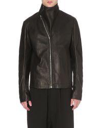 Rick Owens - Black Asymmetric-collar Leather Jacket for Men - Lyst