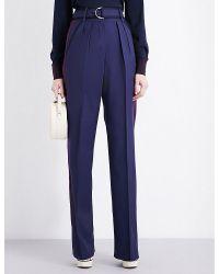 ROKSANDA   Blue Tillae High-rise Wool And Silk-blend Trousers   Lyst