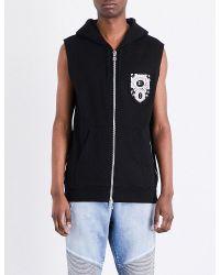 Balmain | Black Sleeveless Zip-up Cotton-jersey Gilet for Men | Lyst