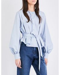 See By Chloé | Blue Ruched Cotton Blouse | Lyst