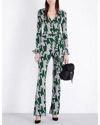 Diane von Furstenberg | Green Leopard Silk-jersey Jumpsuit | Lyst