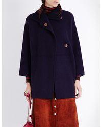 Diane von Furstenberg - Blue Avril Wool-blend Coat - Lyst
