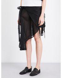 Phoebe English - Black Waterfall-hem Silk-organza Skirt - Lyst