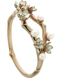 Shaun Leane | Metallic Cherry Blossom Rose-gold Vermeil, Ivory Enamel, Pearl And Diamond Cuff | Lyst