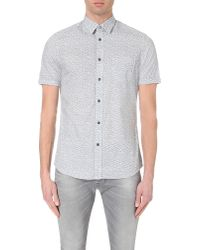 DIESEL | White S-palms Leaf-print Cotton Shirt for Men | Lyst