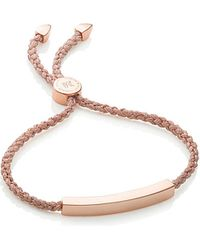 Monica Vinader | Metallic Linear 18ct Rose Gold-plated Woven Friendship Bracelet | Lyst