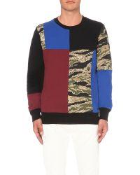 DIESEL | Black Skull-patch Cotton-blend Sweatshirt for Men | Lyst