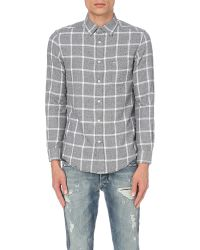 DIESEL - White S-tas Checked Cotton Flannel Shirt for Men - Lyst