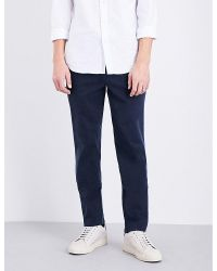 7 For All Mankind   Blue Slimmy Slim-fit Tapered Stretch-cotton Chinos for Men   Lyst