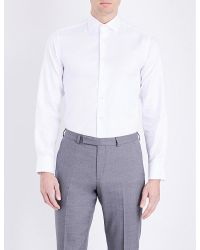 Smyth & Gibson | White Tailored-fit Herringbone-print Cotton Shirt for Men | Lyst