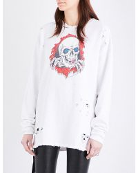 Unravel - White Distress Brigade Cotton-cotton Sweatshirt - Lyst