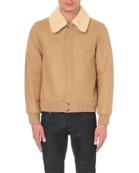 Sandro   Natural Shearling-collar Wool-blend Jacket for Men   Lyst