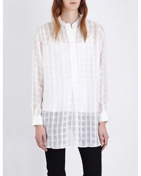 Joseph - White Check-print Silk Shirt - Lyst