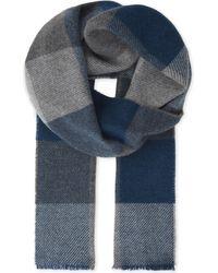 Johnstons - Blue Herringbone Cashmere Scarf for Men - Lyst