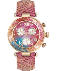 Gc Metallic Ladychic Python-effect Leather Watch