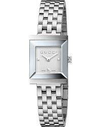 Gucci | Metallic Ya128402 G-frame Collection Stainless Steel Watch | Lyst