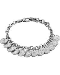 Gucci - Metallic Coin Rhodium Silver Charm Bracelet - Lyst