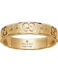 Gucci | Icon Hammered 18ct Yellow Gold Ring | Lyst