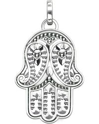 Thomas Sabo - Black Hand Of Fatima Sterling Silver And Zirconia Pendant - Lyst