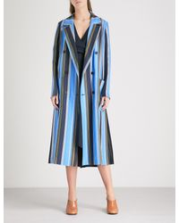 Diane von Furstenberg - Blue Ampère-print Double-breasted Silk-twill Coat - Lyst