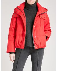 Mo&co. - Red Slogan-print Shell-down Puffer Jacket - Lyst