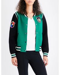 Maje - Green Mat Knitted Bomber Jacket - Lyst