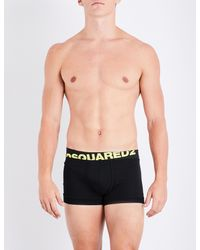 DSquared² | Black Neon Logo Stretch-cotton Trunks for Men | Lyst